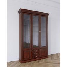 Шкаф для книг 3-х дверный в цвете Вишня